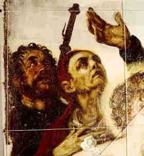 Bamberg, linker Bildrand (Fussraster) Apostel Jacobus (ohne Nimbus)