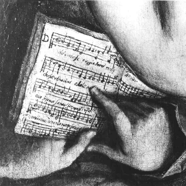 "Nymphensextett Dreden, Detail Partitur ""Dolc'amorose e leggiardette ninfe..."""
