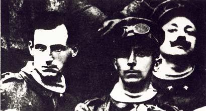 A.Sant'Elia, U.Boccioni, F.T.Marinetti in Uniform der desBattaglione Lombardo Volontari Ciclisti 1914