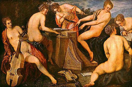 Jacopo Tintoretto, Nymphensextett Dresden (Senario von Grazien und Horen)