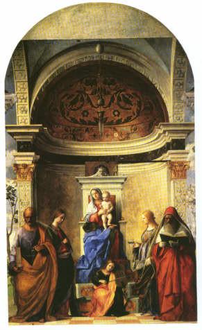 Giovanni Bellini (1427-1516), Pala di San Zaccaria 1505 (San Girolamo rechts), Venedig, S.Zaccaria