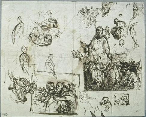 Jean François Millet (1814-1875 Barbizon) Entwurfzeichnungen, Louvre