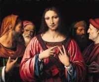 Bernardino Luini (um 1480-1532 Lombarde) Chr.und die Schriftgelehrten, London Nat.Gall.