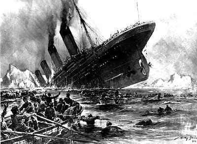Untergang der Titanic Radierung in der Tagespresse April 1912