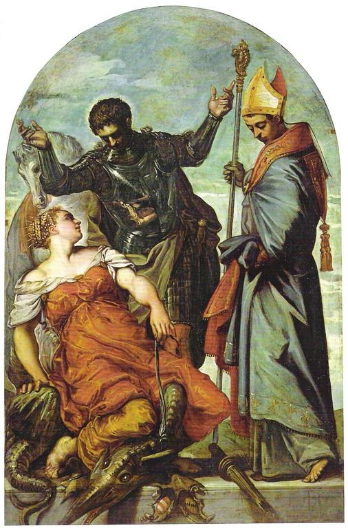 Jacomo Tintoretto, San Giorgio, La Principessa e San Luigi 1552, Gallerie dell'Accademia, Venedig
