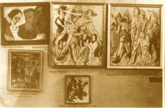 Ausstellung 'entartete Kunst' 1937 München, (Nolde l. und Beckmann r.)