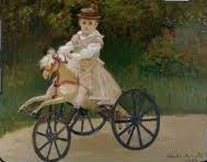 """Claude Monet (1870-1889), Sohn Jean auf seinem """"cheval mécanique"""" 1872, Chicago, Cummings"""