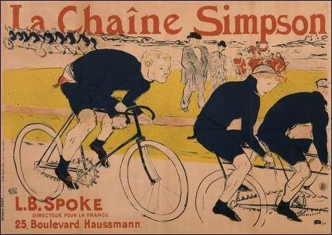 """Toulouse Lautrec """"La chaine Simpson""""Reklame- Lithographie 1896"""