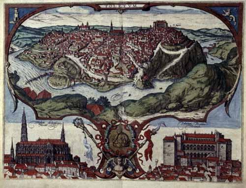 G.Hoefnagel, Ansicht Toledos 1566 mit Kathedrale und Alcazar (37,2x49,6cm)