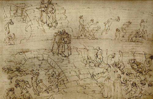 Sandro Botticelli 1480ff, Illustration Dantes Inferno, die Alchemisten und Fälscher