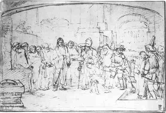 Rembrandt van Rijn, Zeichnung zur Ehebrecherin um 1655 19,4x28,3cm BvB,Rotterdam