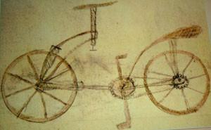 Fälschung einer Fahrradzeichnung um1960 im Codex Atlanticus 133v Leonardo da Vincis