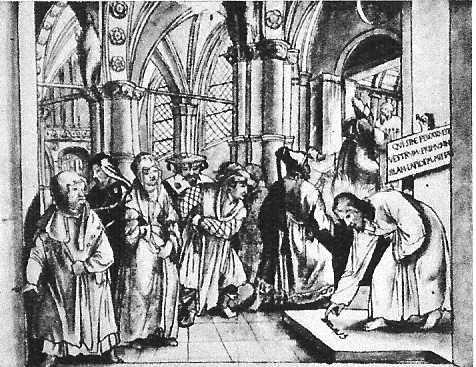 Hans Holbein(1497/8-1543) aqurellierte Entwurfskopie für den Grossratssaal in Basel 1517-21