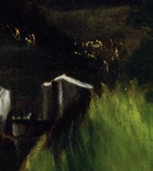 Detail:Fischer, Badende usw., davor Bewässerungs- und Mühlenwerk