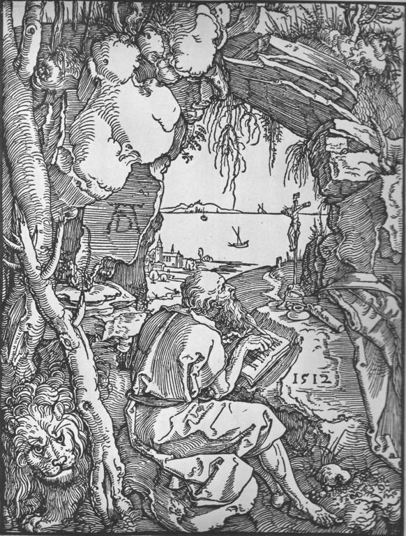 Albrecht Dürer, Hieronymus in der Felsenhöhle, Holzschnitt 1512