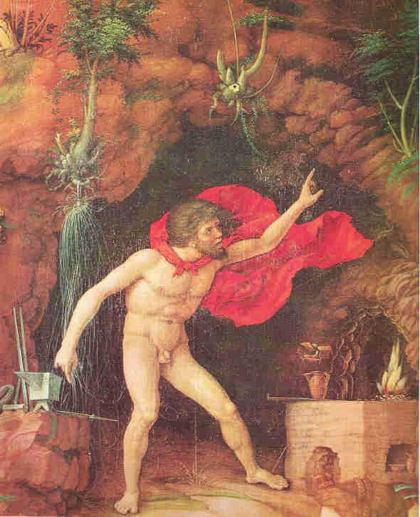 """Andrea Mantegna, der Parnass, Detail mit Vulkan drohend das """"diamantene"""" Netz zu schmieden"""