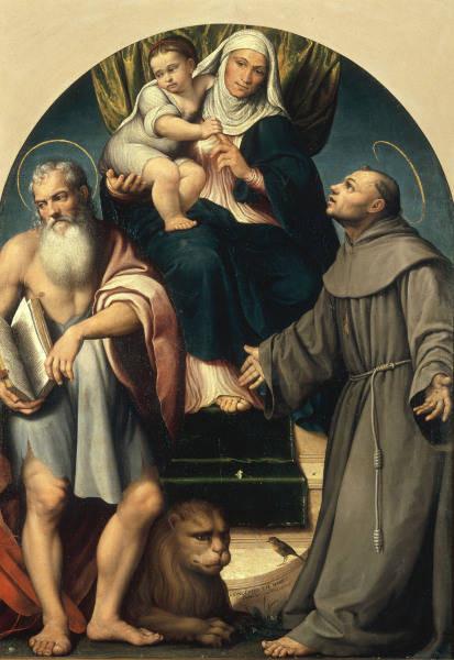 Jacopo Bassano (1510-1592), Hl.Anna, Hieronymus und Franziskus 1541, Venezia Gall.d.Acc.(Museo Civico Bassano)