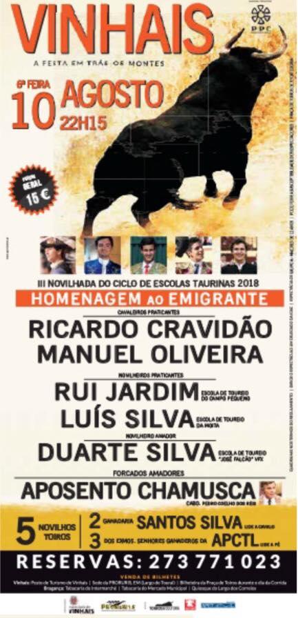 4ª Novilhada Escolas Taurinas, Homenagem ao Emigrante 10 de Agosto - Vinhais