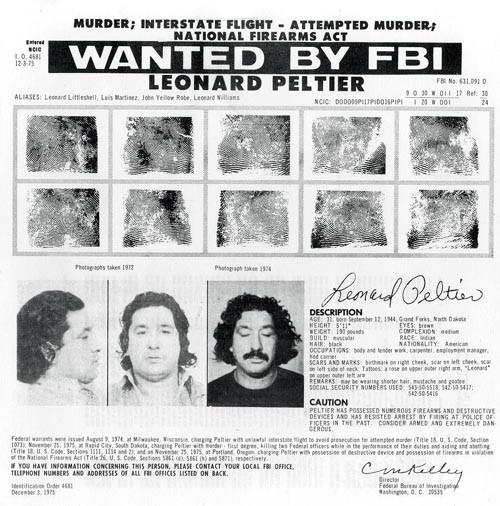 Der Steckbrief, mit dem Leonard Peltier gesucht wurde