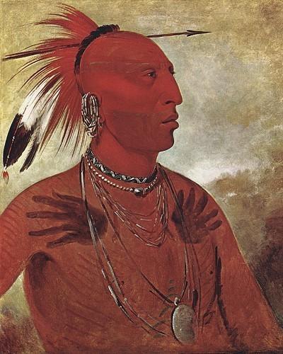 Indianer legten vor und auch nach einer Schlacht Kriegsbemalung an. Dieses Portrait zeigt einen Krieger der Pawnee nach einem Sieg;die auf seine Brust gemalten Hände sind das Zeichen dafür, daß er einen Feind im Nahkampf getötet hat.
