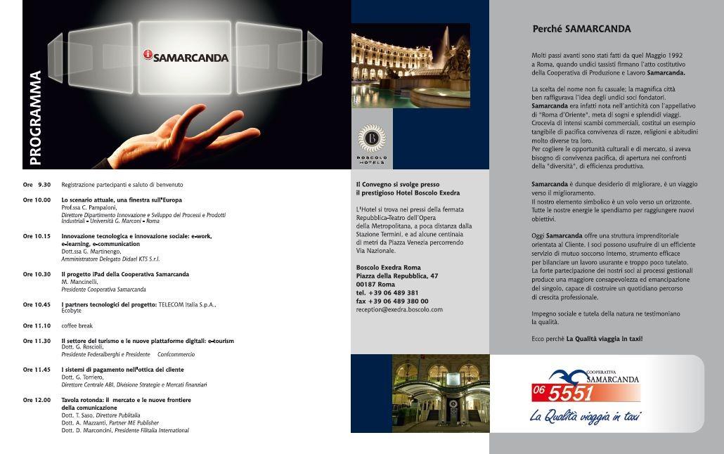 Cooperativa Taxi Samarcanda - Interno brochure convegno i-samarcanda