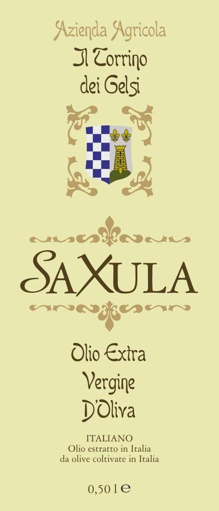 "Azienda Agricola ""il Torrino dei Gelsi""- Etichetta olio extravergine d'oliva Saxula"