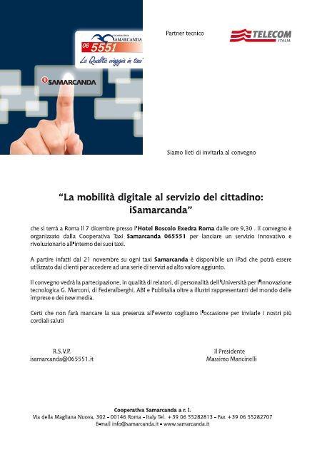 Cooperativa Taxi Samarcanda - lettera invito a Convegno