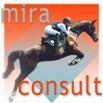 Logo miraconsult e.U.: ein braunes Pferd mit Reiterin in aufsteigender Flugphase vor einem Hintergrund in warmen rot Tönen.