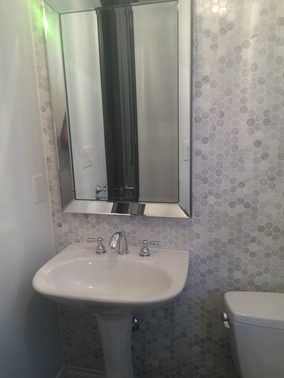 Powder Room Upgrade: Repaint, New Tile Mosaic Installation and refinishing
