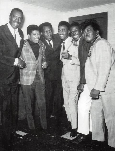 the Funky Soul story - left to right : unkown Dj, Ben E. King, Otis Redding, Johnnie Taylor, Arthur Conley and Perce Sledge