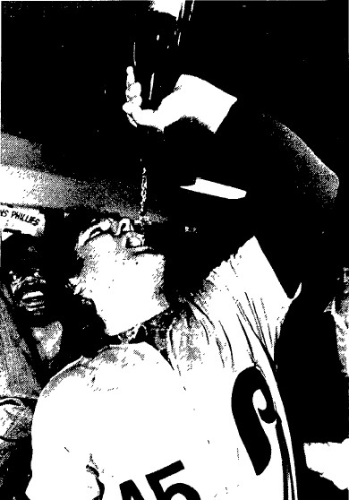 Tug McGraw celebrates the Phils' first pennant since 1950.