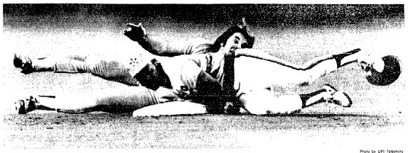 Pete Rose is caught stealing second the 3rd inning.