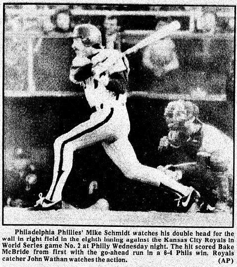Mike Schmidt doubles, knocking home Bake McBride with the winning run in the 8th.