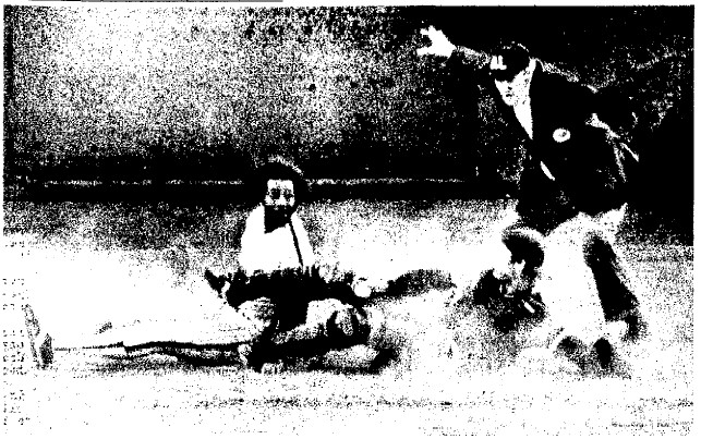 Bake McBride scores what would be the winning run in the 8th,