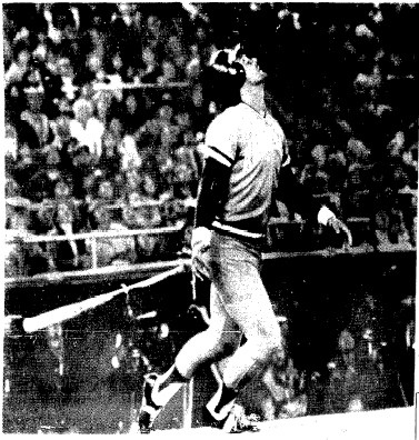 George Brett watches a pop-up in the first inning.