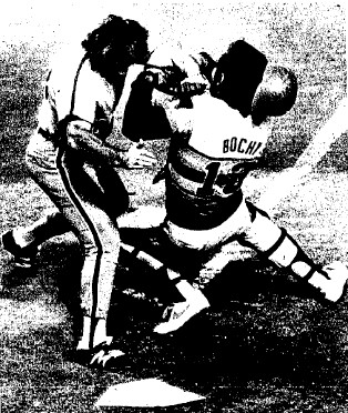 Pete Rose scored on Luzinski's double, knocking over Astros catcher Bruce Bochy in the process.