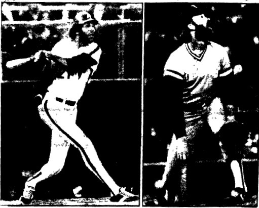Two pictures, two stores:  McBride hit the game-changing home run against Dennis Leonard.