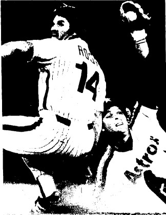 Pete Rose is tagged out trying to steal second in the 3rd inning.