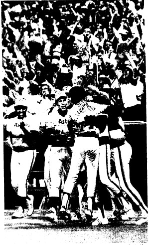 Houston celebrates after taking the game 2-1.