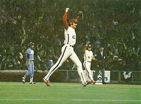 Ron Reed celebrates after earning the save.