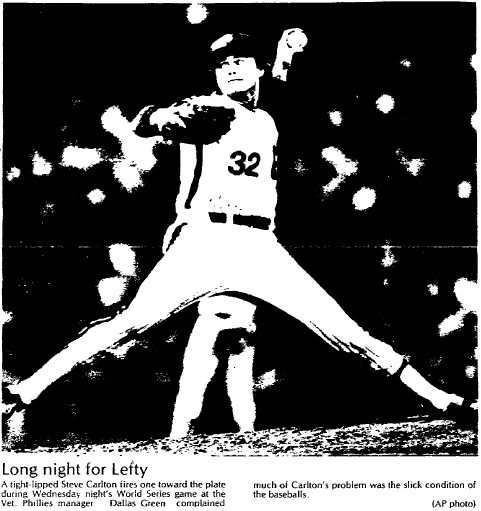 Steve Carlton was the winner in Game 2, though he didn't have his best stuff.