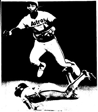 Houston's Joe Morgan completes a double play in the 7th inning.