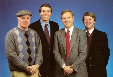 (L-R) Richie Ashburn, Andy Musser, Harry Kalas and Chris Wheeler. This picture appears in the 1984 Phillies Yearbook, after Tim McCarver had left the organization.