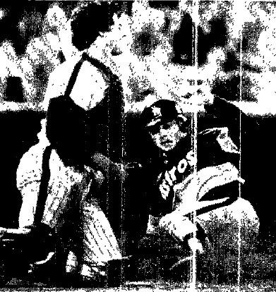 Nolan Ryan scores in the 7th to tie the game at 3-3.