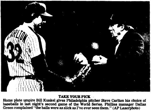 Carlton shows his displeasure over the slick baseballs.