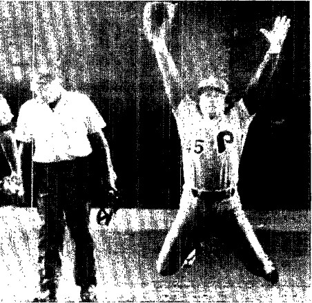 Tug McGraw celebrates the last out, assuring the Phils of a fifth and deciding game.