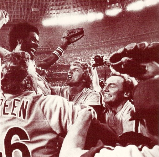 Garry Maddox is carried off the field after catching the final out of the NLCS.