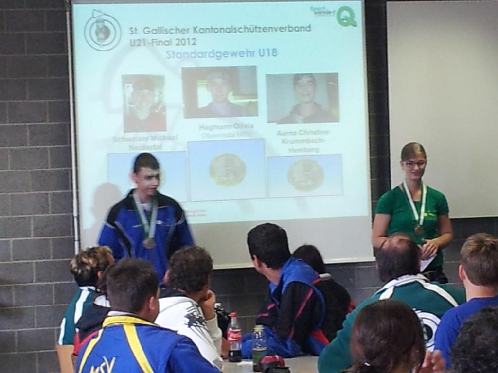 Medaillenüberreichung Podest Sport U18