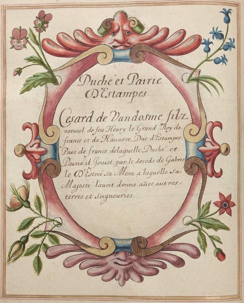BnF, Ms Fr 2768, fol. 88v. Duché et Pairie de d'Estampes