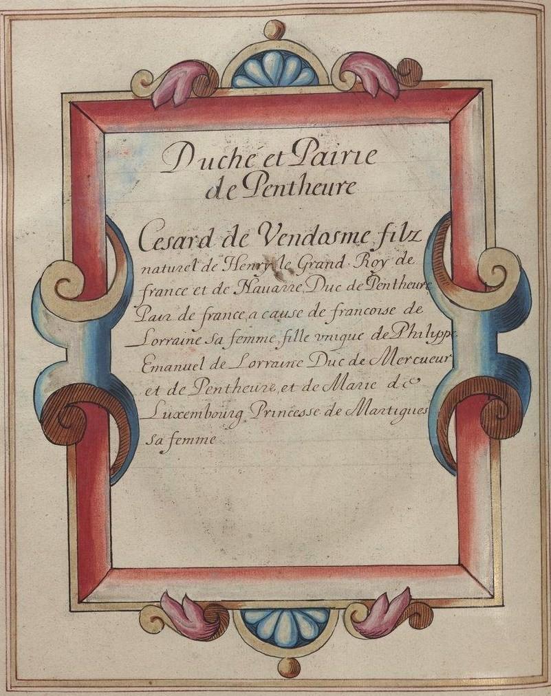 BnF, Ms Fr 2768, fol. 90v. Duché et Pairie de Penthièvre